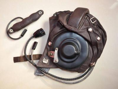 New China Mig-15 Fighter Pilot Leather Flight Helmet◆Throat Mic◆goggles