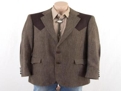 Grand Entry WESTERN SPORT COAT Blazer ROCKABILLY Cowboy Brown Tweed Vtg Style 42