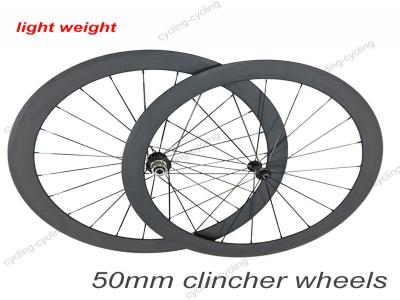 Only 1390g 50mm clincher 700c carbon road bike wheelset,carbon cycling wheels